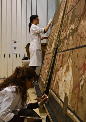 "CCR Laboratory for the restoration of easel paintings: conservative activities on detached mural paintings from the Egyptian Museum of Turin©Fondazione Centro per la Conservazione ed il Restauro dei Beni Culturali ""La Venaria Reale"""