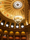 View of domed ceiling and newly installed electrolier in McEwan Hall. Image taken by LDN Architects.