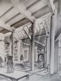 Image 1. Screenshot from The Burrell Renaissance: Unpicking a Collection and its Building showcasing Gasson's drawing/impression of Burrell Museum display (1975).