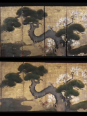 "Screenshot taken from  ""Japanese and chinese paintings at Taliesin: their display and conservation"". Before and after treatment."