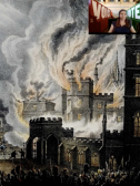 Screenshot from Suffrage and Smoke: The UK Parliamentary Archives' Challenges in Caring for Collections Housed in the Palace of Westminster showcasing a print of the Palace of Westminster burning.