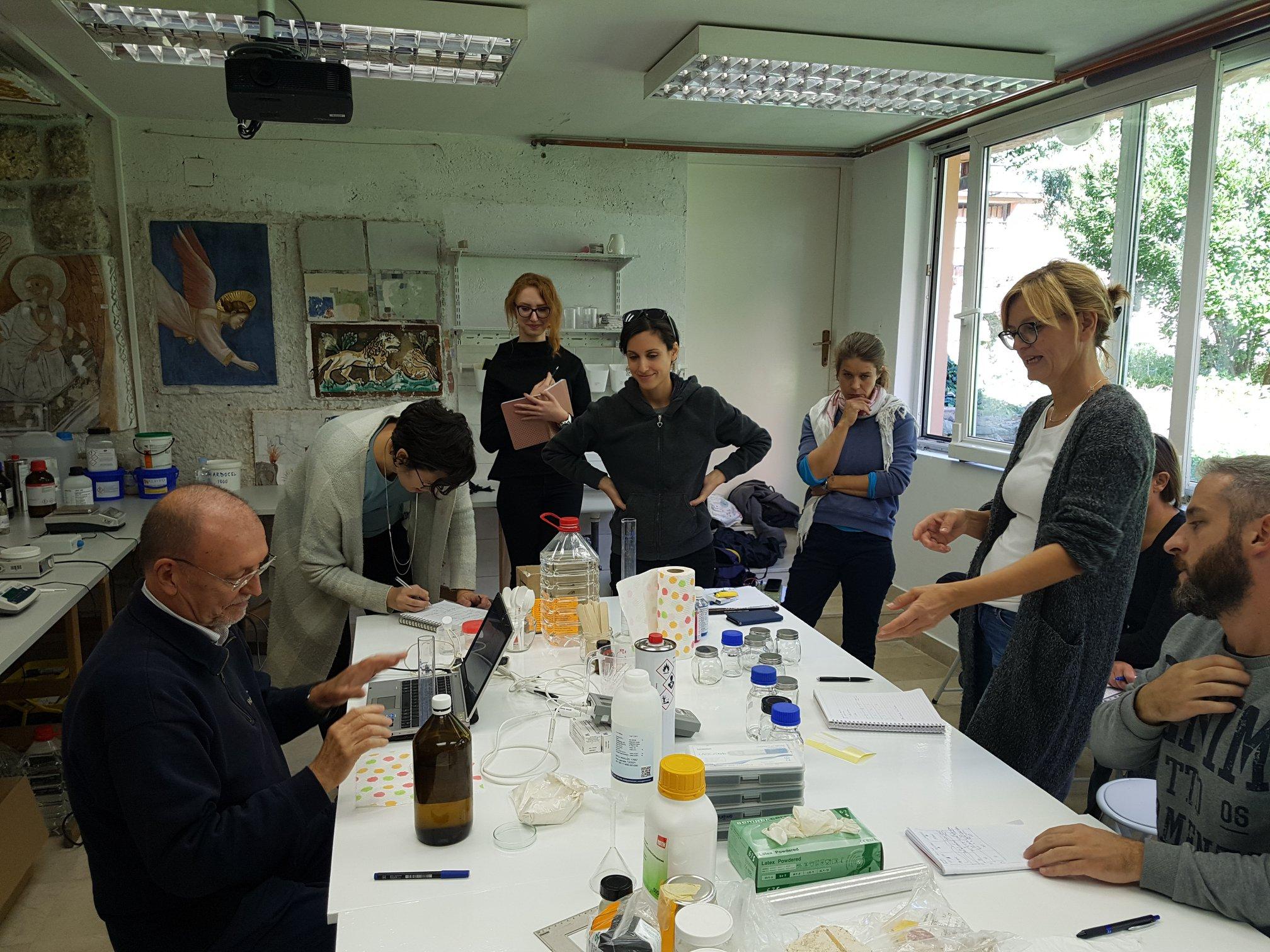 Prof. M. Coladonato, A. Marra, and participants of the workshop at the Department studios. Image courtesy of Ajda Mladenovič.