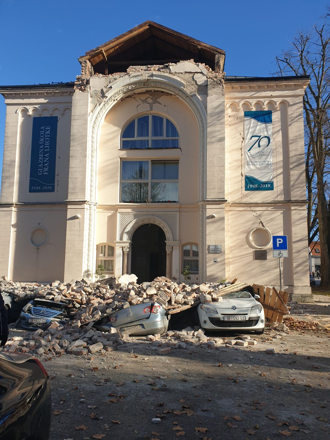 Music School (former synagogue) in Sisak after the Petrinja earthquake on 29 December 2020. Image owned by, and published with permission from, the director of the Sisak Music School, Mr. Tomislav Ivšić.