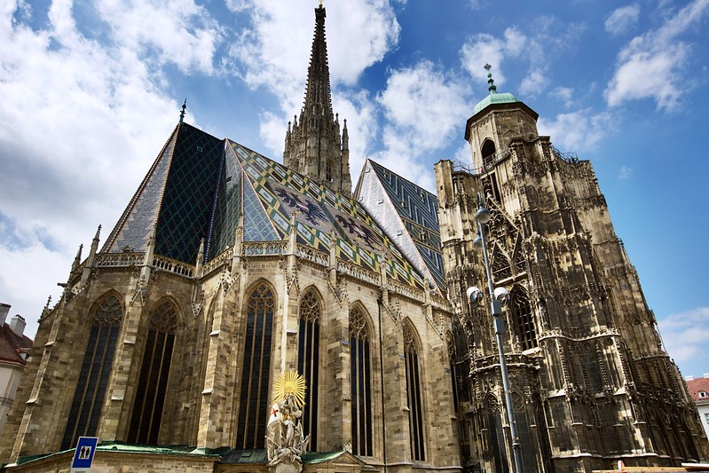 St. Stephen's Cathedral, Vienna. Photographer Lezlie Neo. 2015. Image licensed under CC BY-NC-ND 2.0. Original image location here. https://www.flickr.com/photos/lezlie-neo/26586946981
