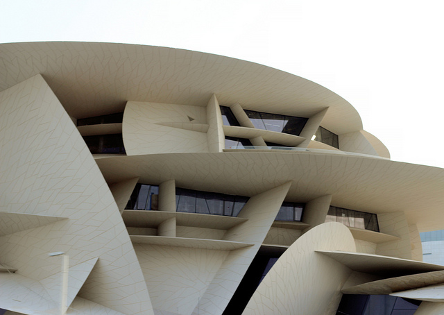 National Museum of Qatar, Doha. Ateliers Jean Nouvel. Photograph taken on June 3, 2018 by Trevor Patt. Licensed under CC BY-NC-SA 2.0. Original image here.