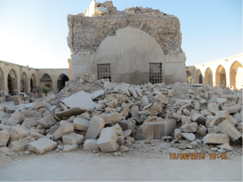 A photograph of the heavily damaged al-Ma'ara Museum taken by local partners (photograph provided by The Day After - Heritage Protection Initiative; June 2015)