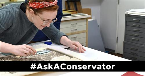 AIC promotional image from Ask A Conservator Day.  image courtesy of the American Institute for Conservation and the Foundation for Advancement in Conservation (AIC and FAIC).