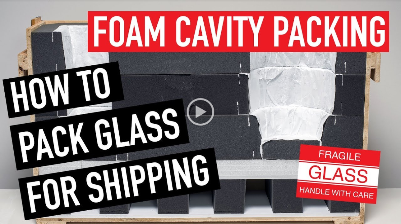 Foam Cavity Packing Glass for Shipping. Image courtesy of the Corning Museum of Glass.