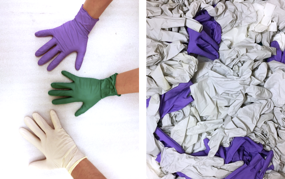 Used disposable nitrile gloves produce massive amounts of waste, which end up in landfills or incinerators. Image courtesy of Sustainability in Conservation