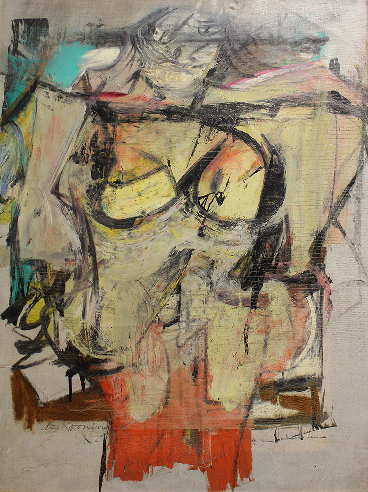 Willem de Kooning's Woman-Ochre (1955) in August 2017, shortly after it was recovered in New Mexico and returned to the University of Arizona Museum of Art. © 2019 The Willem de Kooning Foundation / Artists Rights Society (ARS), New York
