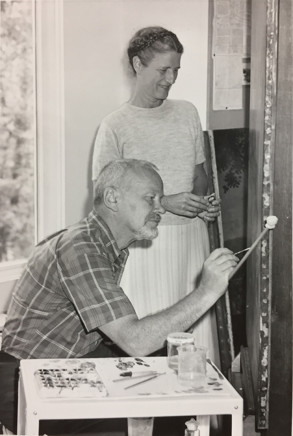 Sheldon and Caroline Keck in their studio. Photograph taken by Frank Rollins, Cooperstown, NY. Image courtesy of Albert Keck.