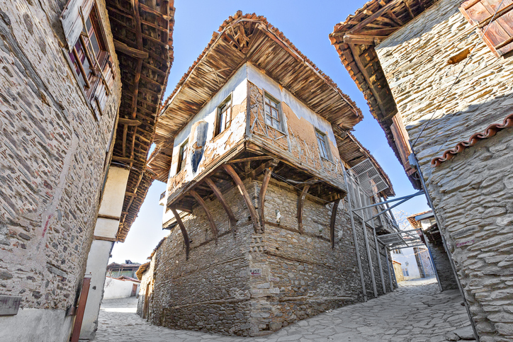 Old houses in the village of Birgi, in the province of Izmir, Turkey.  Photograph by Ozbalci/iStock.  Photo ID: 83558240. Original location: https://www.istockphoto.com/photo/village-houses-in-birgi-turkey-gm835580240-135979467