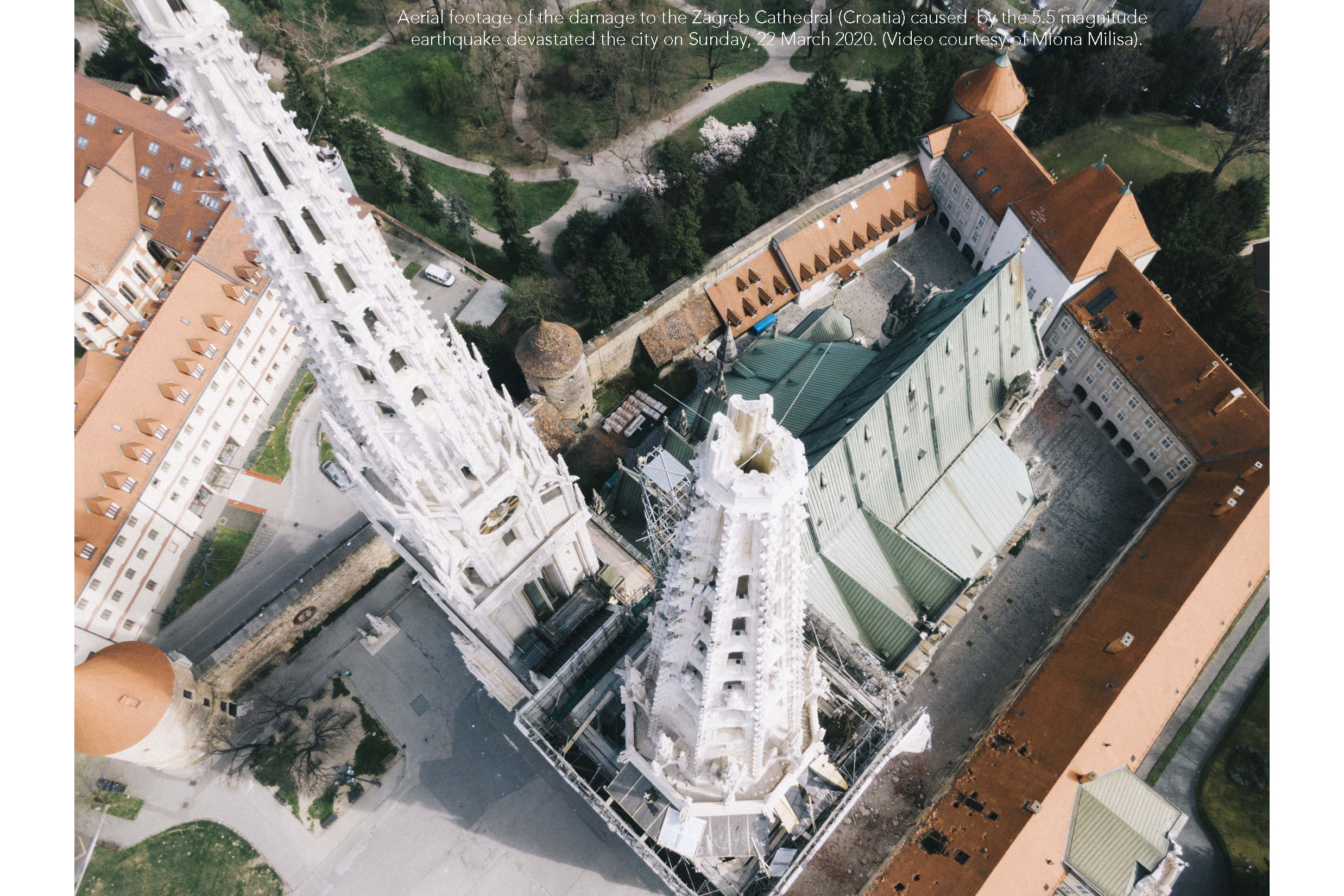 Aerial footage of the damage to the Zagreb Cathedral (Croatia) caused by the 5.5 magnitude earthquake that devastated the city on Sunday, 22 March 2020. Image courtesy of Miona Milisa.