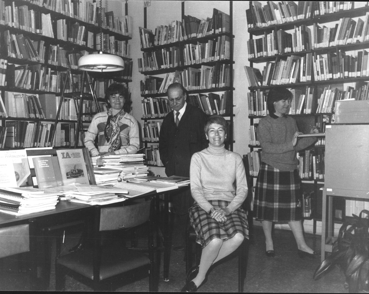 ICCROM Library staff, 1983. Image courtesy of the ICCROM Archives.