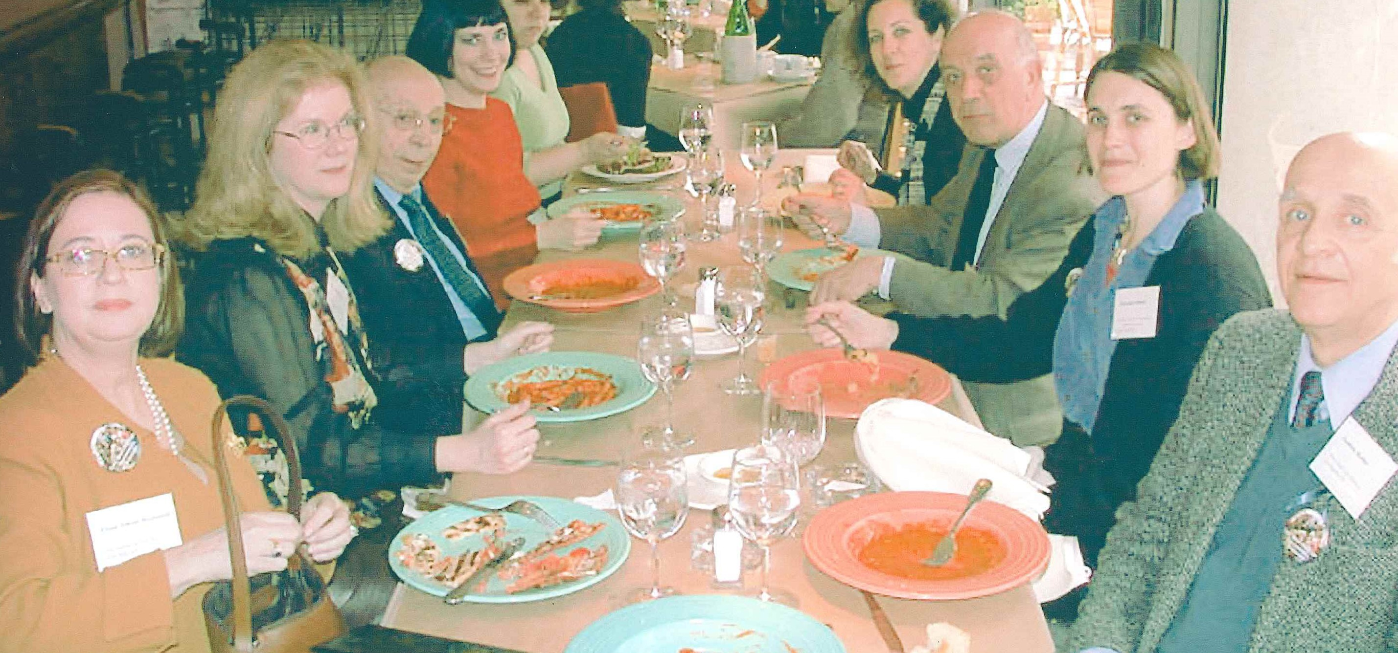Lunch at a Yale conference in 2002. From Left to Right: Dianne Dwyer Modestini (co-interviewer), JHS (interviewer), Mario Modestini (interviewee), Jeanne McKee Rothe (co-interviewer), Lisa Ackerman (formerly of the Kress Foundation), Wendy Samet, (paintings conservator), Michel Laclotte (former head of conservation at the Louvre), Francesca Bewer (researcher and author of the history of conservation of the Fogg Art Museum), Andrea Rothe (former head of paintings conservation at the Getty Museum, and intervi
