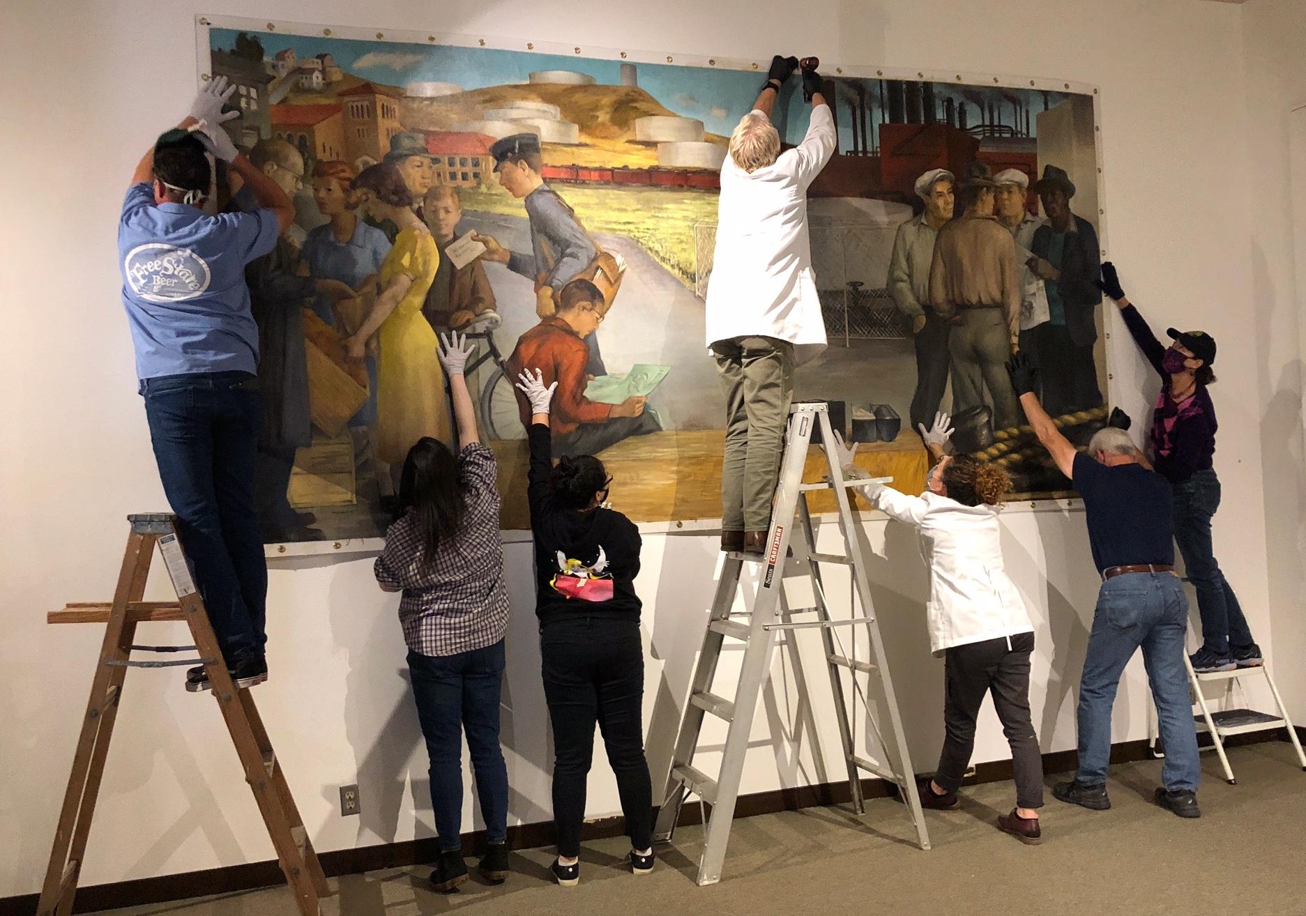 Mounting the mural, Nov. 7, 2020, taken by Karen Buchanan, copyright FACL