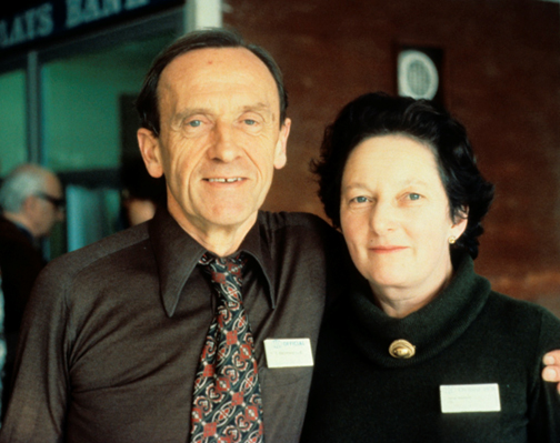Norman Brommelle (d. 1989) amemorable IIC Secretary General, with Joyce Plesters (1927-1996). Take at the 1972 IIC Lisbon Congress. Photograph by Joyce Hill Stoner.