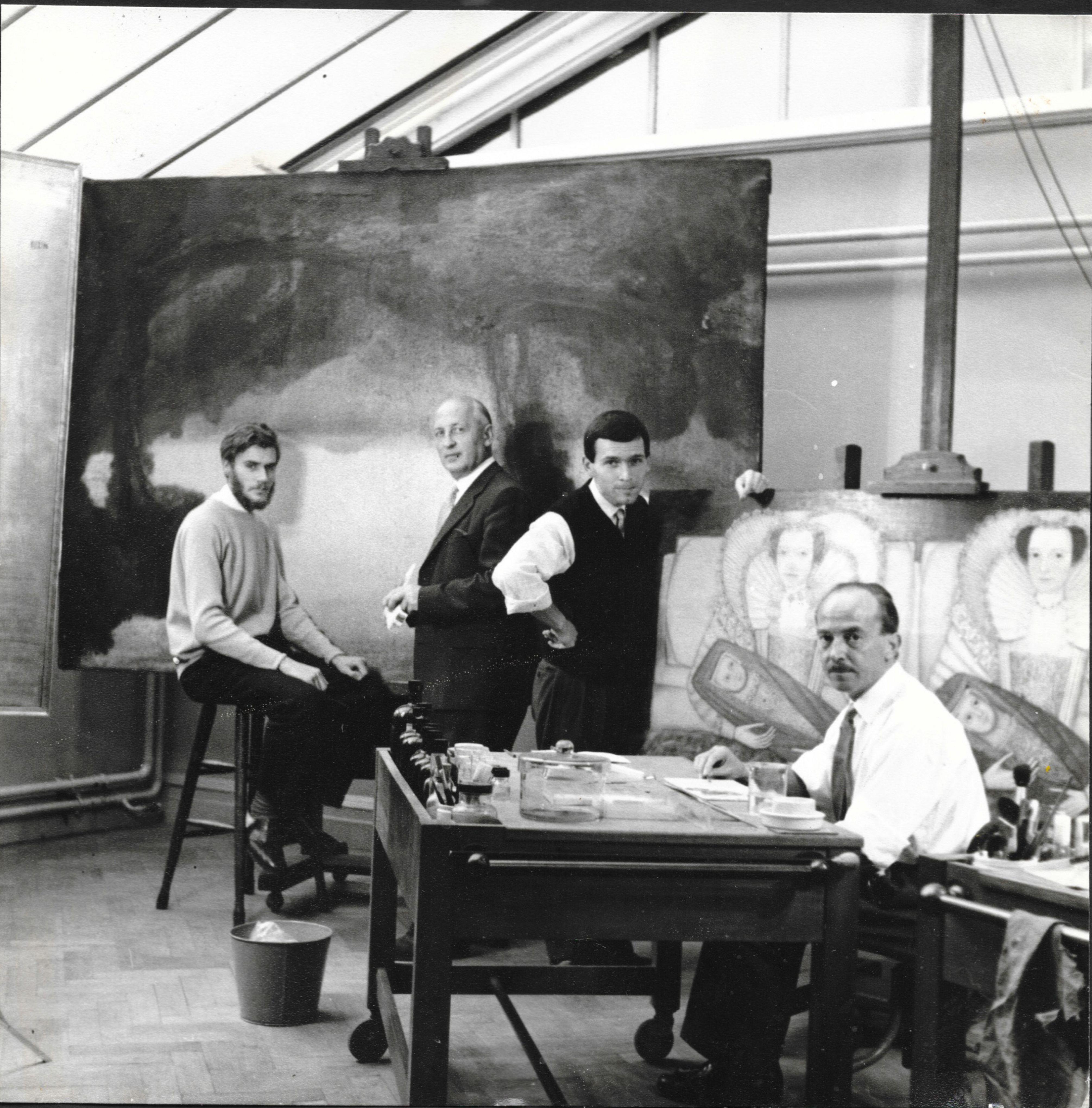 Tate Gallery: John Bull, Stephan Slabchinsky, Brunio Heinberg, Percy Williams, circa 1959.