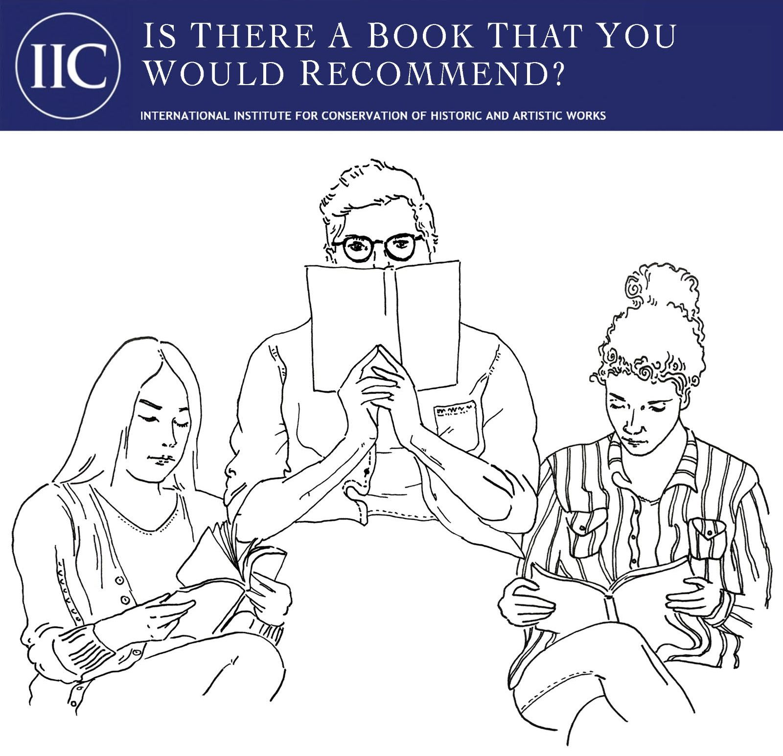 Three students reading. Drawings by Alexandra Taylor, NiC Book Reviews Coordinator
