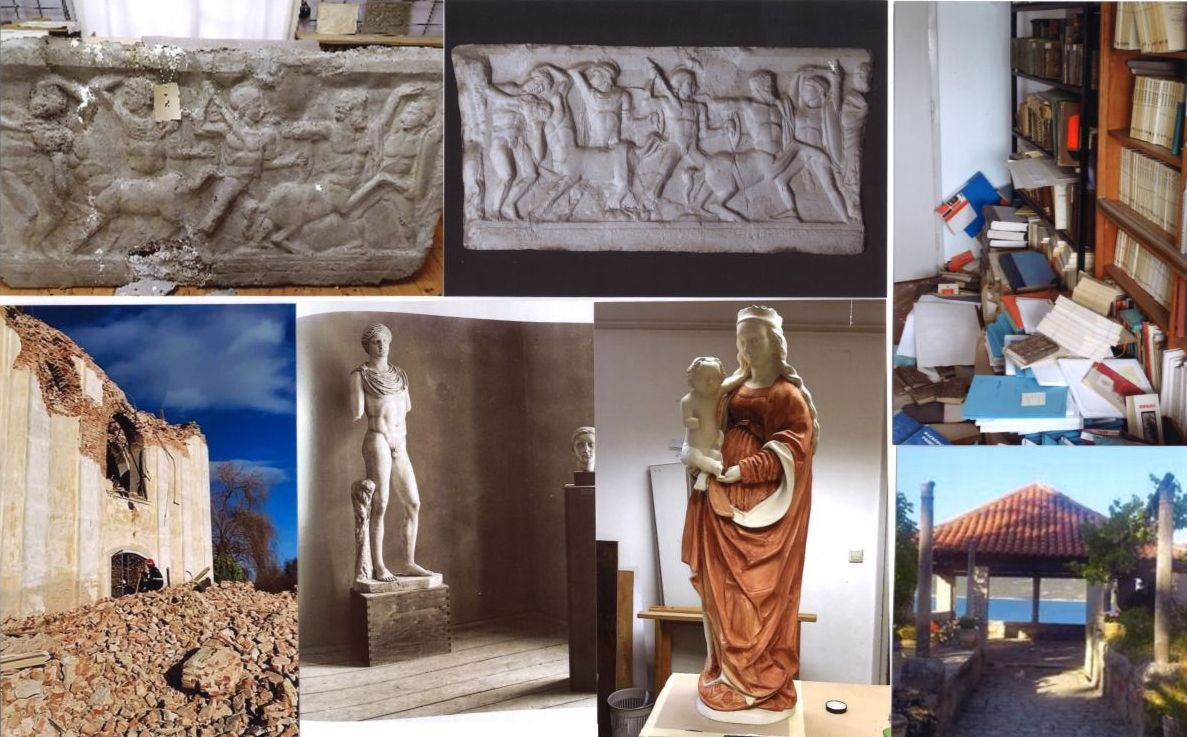 """Top row, from left to right: The plaster cast of Centauromachy following the earthquake damage and after its restoration; Damage in the Town Library in Petrinja Bottom row: St Nicholas and St Vitus church in Zazina, mid 18th century, where the organist was found in its ruins; A view of the display in the Museum of Casts in Zagreb; The second phase, polychromy, of the copy of a 15th century sculpture of Mother and Child; """"Gloriette"""" in the Trsteno Arboretum."""
