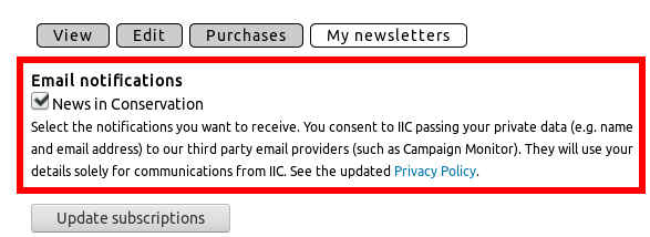 Consent checkbox for News in Conservation