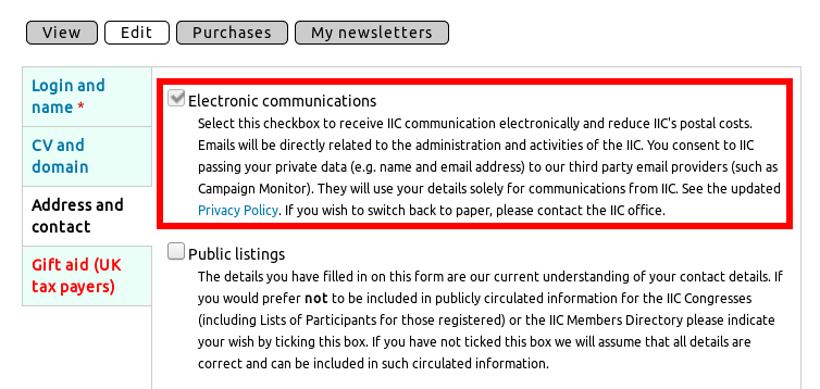 Consent checkbox for general emails from IIC