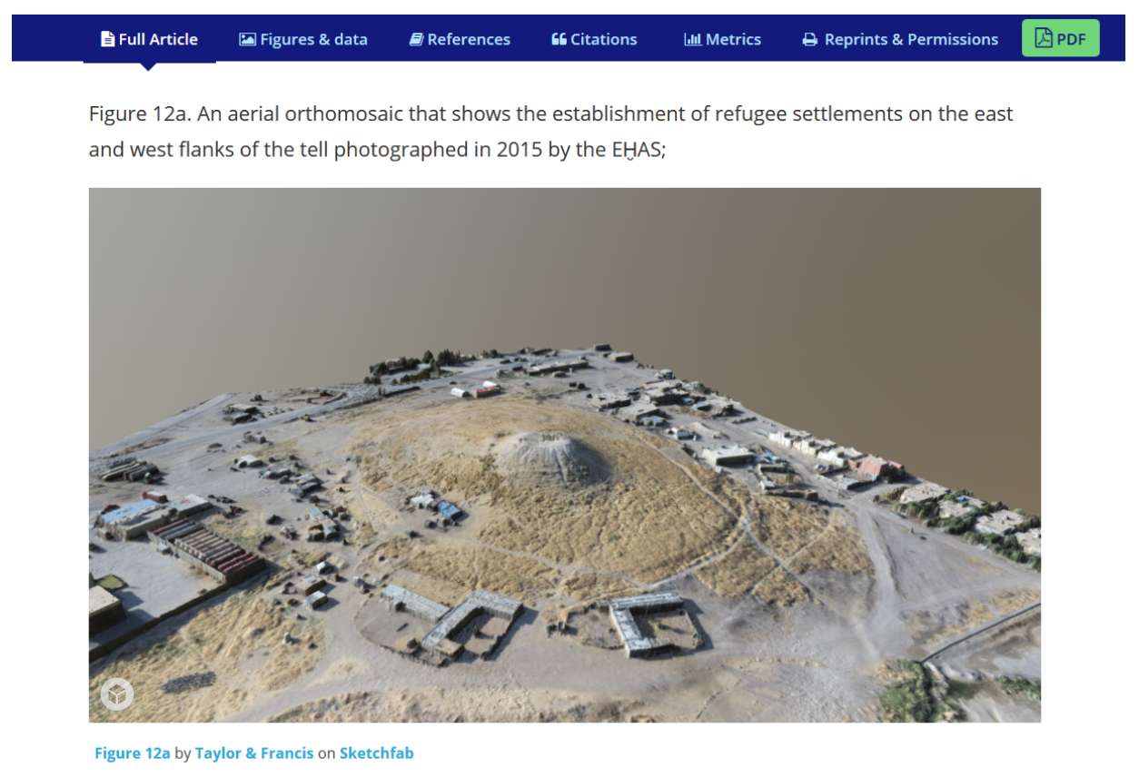 A 3D model of an archaeological site in Iraq © Jason Herrmann, published in Journal of Field Archaeology