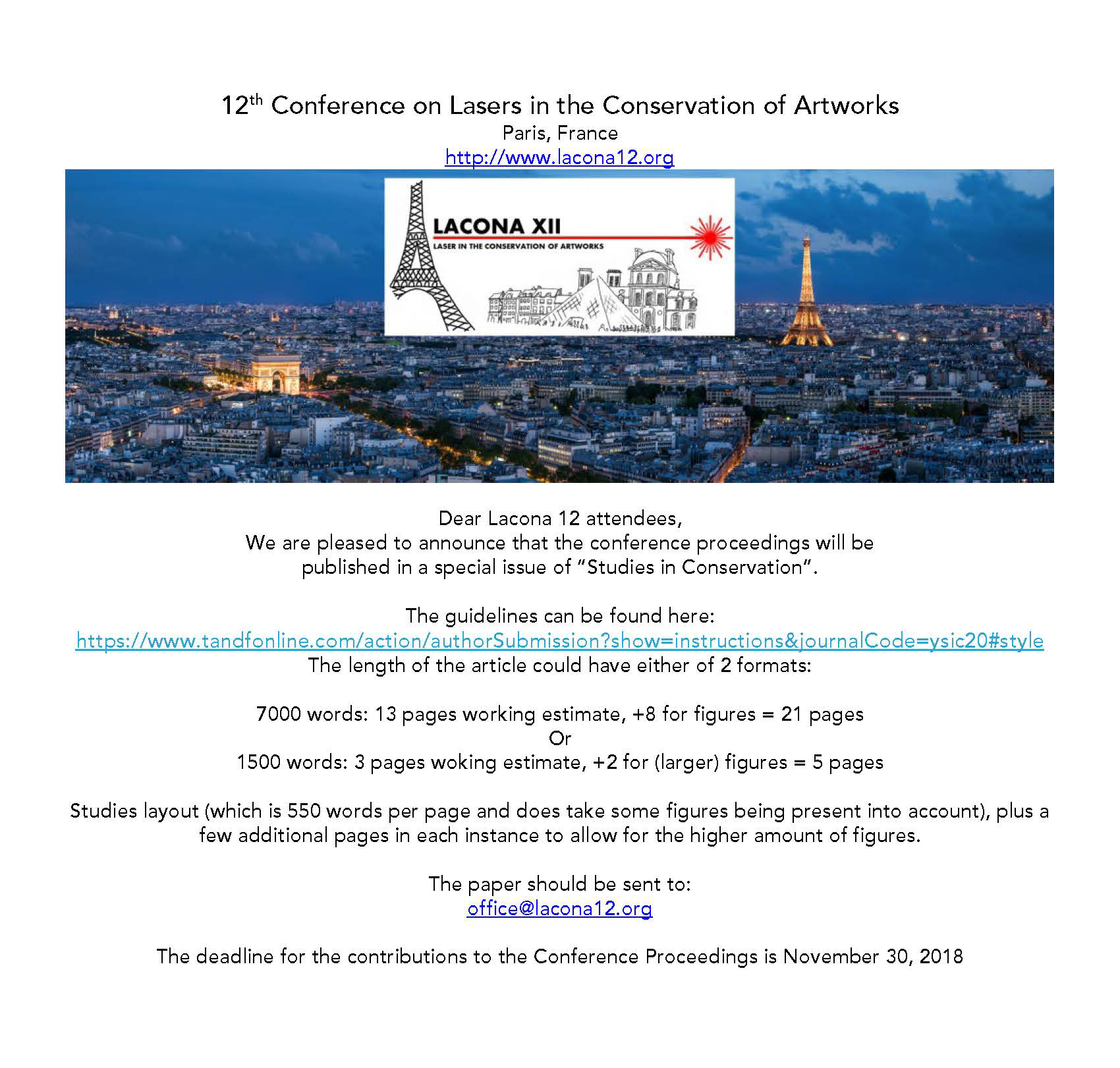 12th Conference on Lasers in the Conservation of Artworks