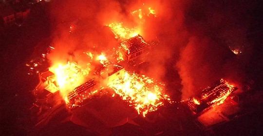 BBC image of Fire Consuming Japan's Historic Shuri Castle © BBC