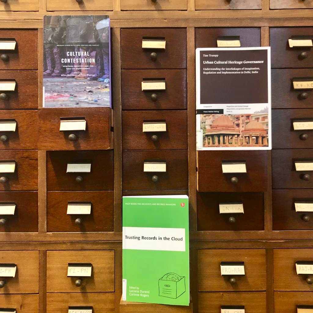 """Here are the three books featured in this issue's """"Selected Acquisitions"""" reviews from the ICCROM Library. Image courtesy of Daniela Sauer"""
