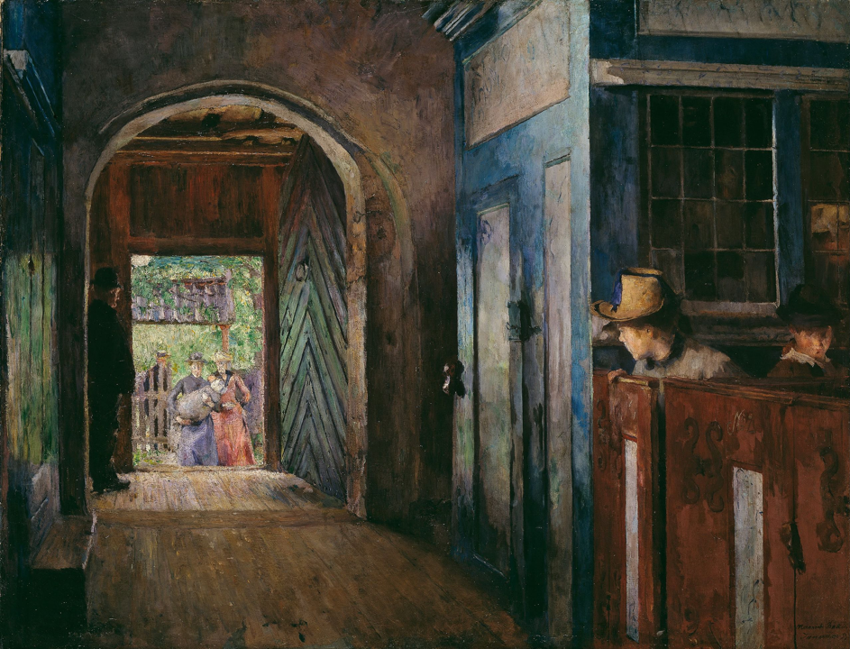 Harriet Backer's Christening in Tanum Church (1892, oil on canvas, 142 cm × 109 cm). Courtesy of The National Museum of Art, Architecture and Design, Norway. Published under CC-BY-NC license:  https://creativecommons.org/licenses/by-nc/4.0/deed.en