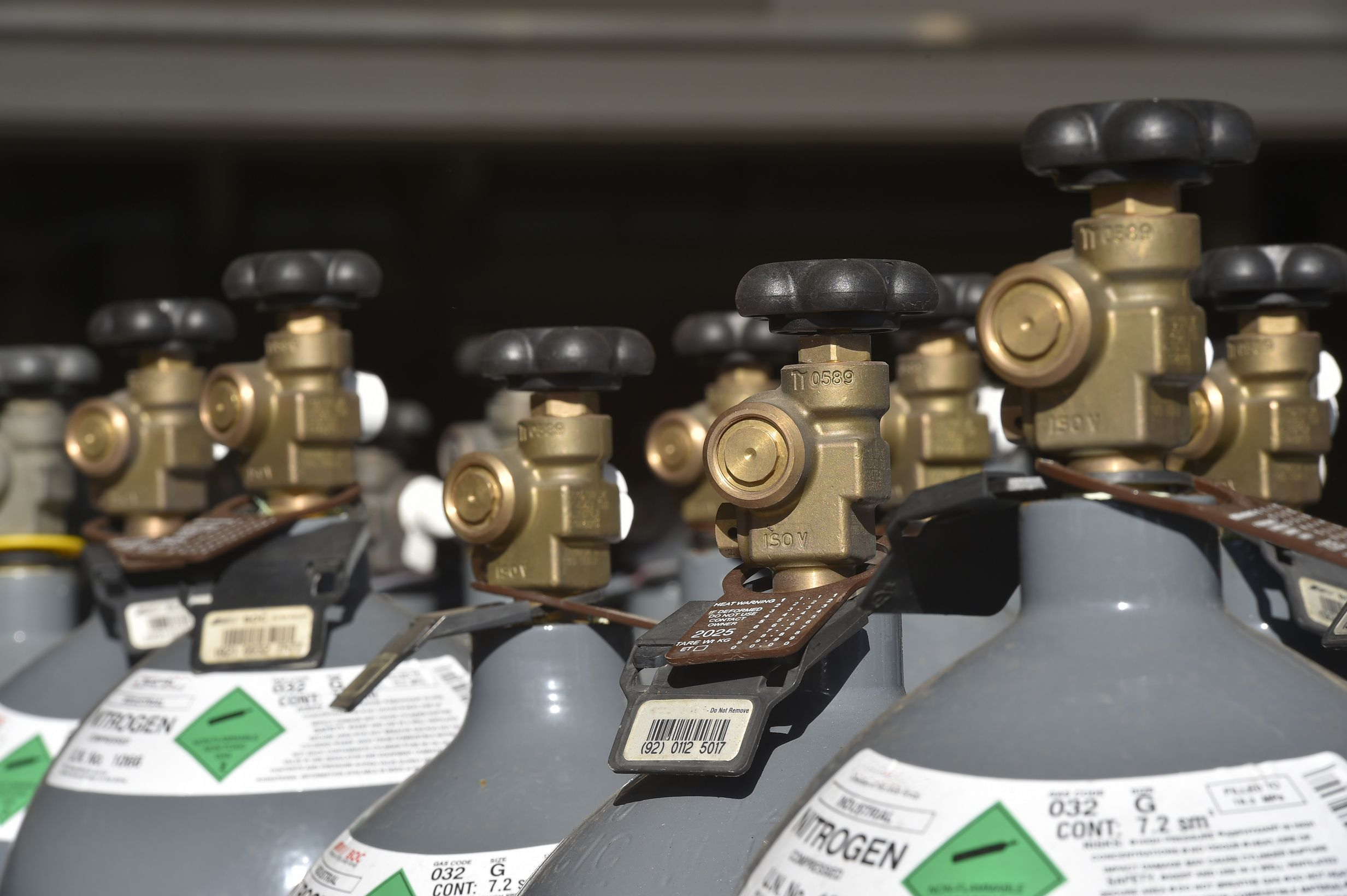 Close up and Selective focus of Industrial Nitrogen cylinders in group. Image by xshot / Shutterstock. Image ID: 386837779