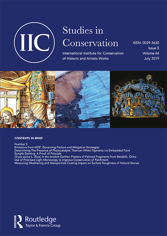 Cover image of Studies in Conservation Vol 64 Issue 5 (Image courtesy of Taylor & Francis)