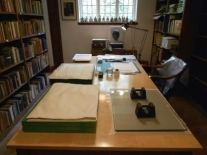 The temporary conservation studio in the Old Library. © Image used with kind permission of the Masters and Fellows of Magdalene College Cambridge