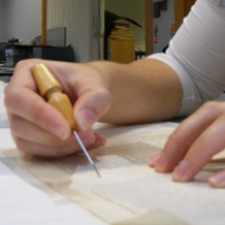 Tracing out of an infill in a paper document © Francesca Lemass