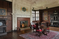 Bramall Hall, the magnificent Withdrawing Room with the restored ornate, Venetian plaster ceiling. Copyright Stockport City Council