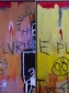 Details of the Jean-Michel Basquiat painting (Untitled, 1981). (Left) Arrow 1 visible when viewed using UV radiation. (Right) Arrow 1 invisible when viewed using visible light. Copyright Longevity Art Preservation.