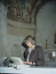 Sharon Cather at St Gabriel's Chapel, Canterbury Cathedral, 1990. Image courtesy of David Park. © Courtauld Institute of Art.
