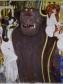 Gustav Klimt, Beethoven Frieze: Knight, 1901-2, Casein, gold and aluminium foil, cut opaline glass buttons, chalk, graphite, Secession, Vienna, Photo: Austrian Federal Monuments Office.
