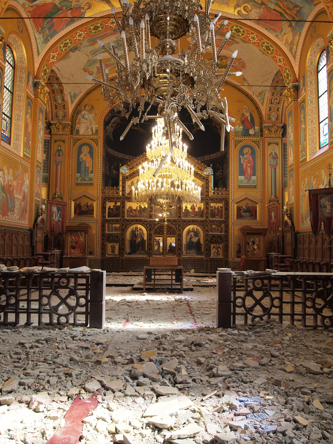 The interior of the Orthodox Church after the earthquake; photo by the author, March 28, 2020.